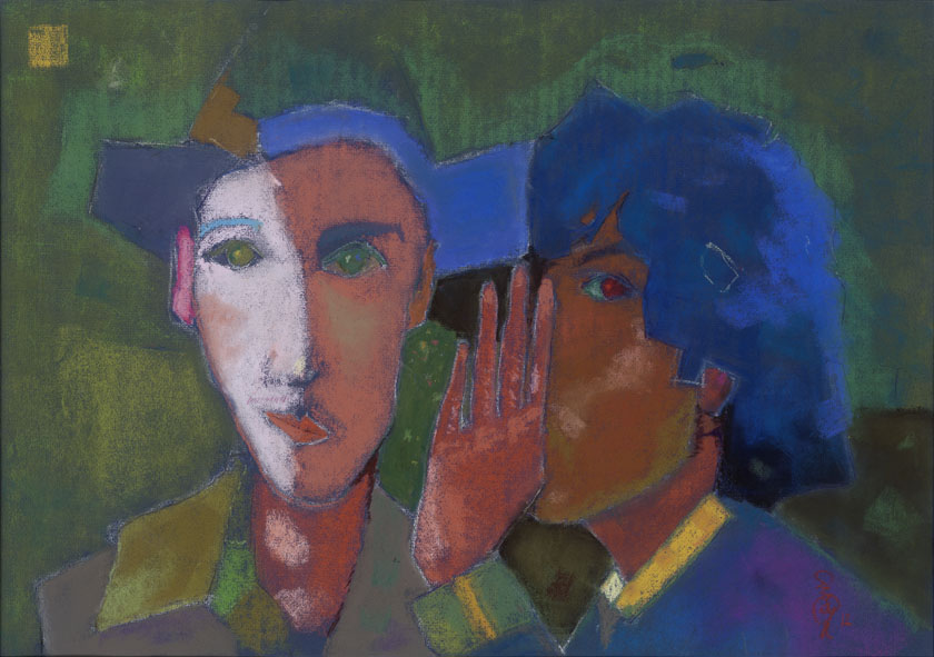 Antoine and Désiré on an exhibition / Kiállításon / 50x70cm, pastel on paper, 2012. Peter Jakab Szőke