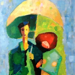 With rain girl / Esőlánnyal / 40x60cm, oil on canvas, 2013. Peter Jakab Szőke