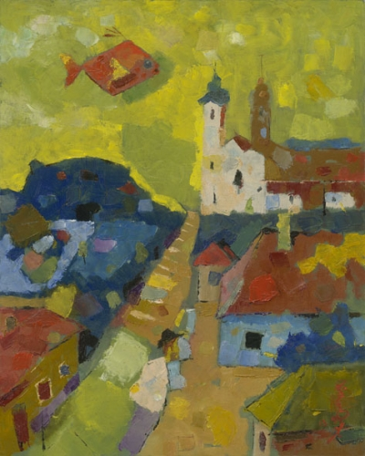 Excursion in Tihany / Tihanyi kirándulás / 40x50cm, oil on cardboard, 2012. Peter Jakab Szőke