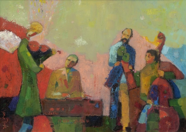 Band / Banda / 40x60cm, oil on cardboard, 2014. Peter Jakab Szőke