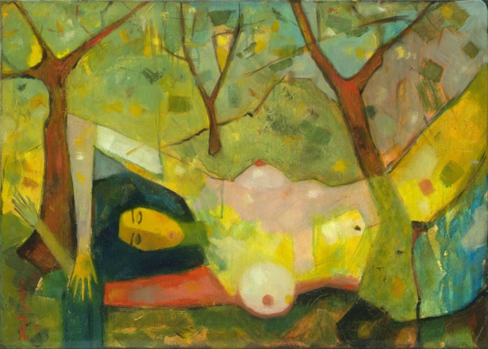 Girl among trees / Lány fák között / 50x70cm, oil on canvas, 2012. Peter Jakab Szőke